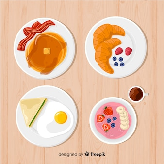 Colección de platos de comida en 2d