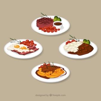 Colección de platos de comida en acuarela