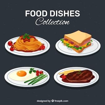 Colección de platos de comida deliciosos