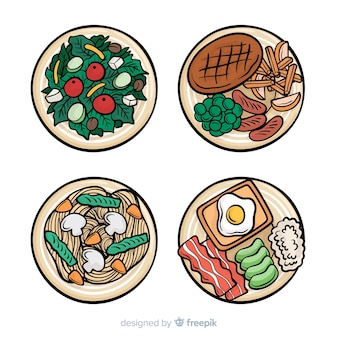 Colección platos de comida dibujada a mano