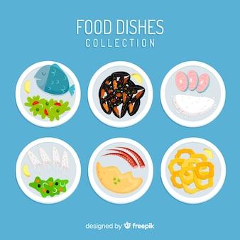 Colección de platos de comida dibujado a mano