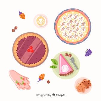 Colección de platos de comida dibujados a mano