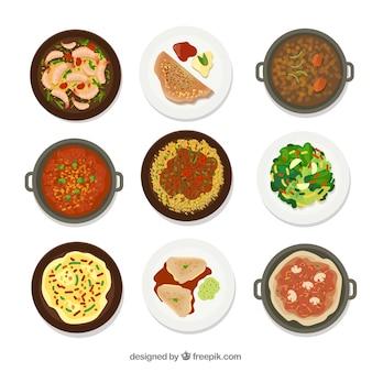 Colección de platos con comida diferente