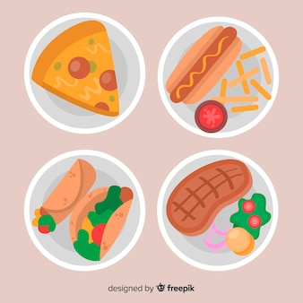 Colección de platos de comida en diseño plano