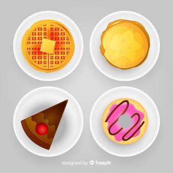 Colección de platos de comida realista