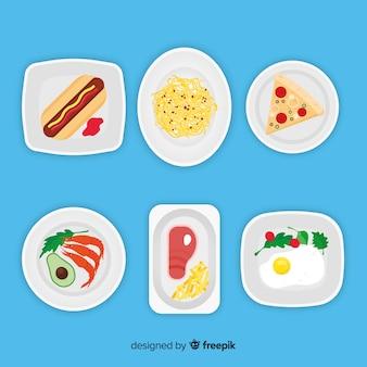 Colección de platos de comida