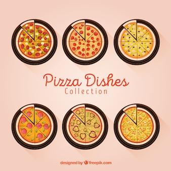 Colección de platos con pizzas en vista superior
