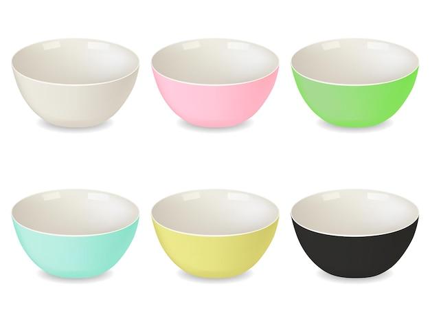 Colección de platos de porcelana de diferentes colores. blanco, verde, rosa, amarillo, azul, negro. un conjunto de objetos aislados. estilo realista. ilustración vectorial.