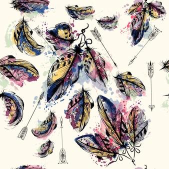Colección de plumas y flechas de acuarela