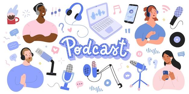 Colección de podcasts, host y oyente, varios micrófonos y auriculares.