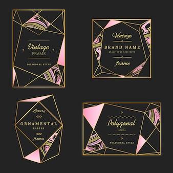Colección poligonal de marcos y logotipos vintage