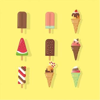 Colección pop ice cream con ilustración de verano de topping diferente