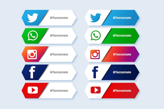 Colección popular de redes sociales en tercios inferiores