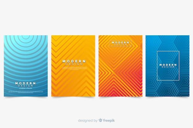 Colección de portada abstracta colorida con líneas