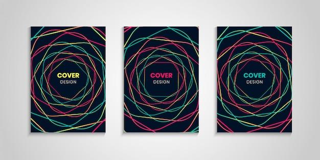 Colección de portada abstracta con coloridas líneas onduladas