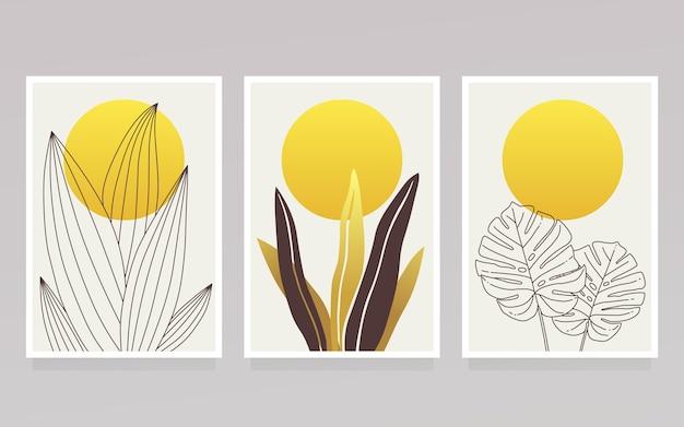 Colección de portada botánica dorada y sol amarillo.