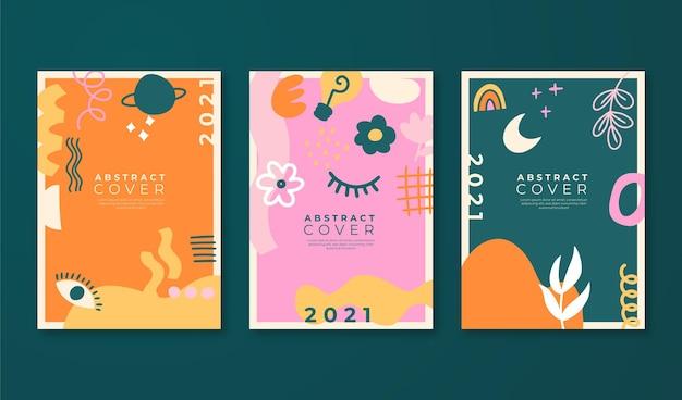 Colección de portadas abstractas dibujadas a mano