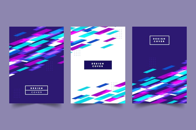 Colección de portadas abstractas con formas coloridas