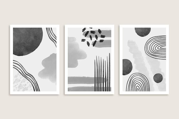 Colección de portadas de acuarela abstracta gris