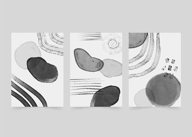 Colección de portadas de acuarela abstracta incolora