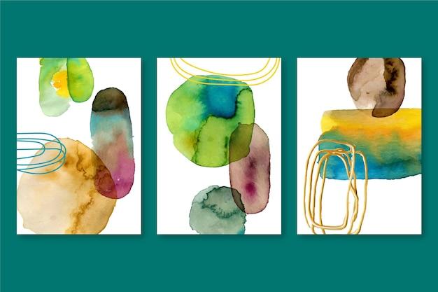 Colección de portadas de acuarela abstracta