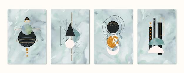Colección de portadas de acuarela dibujadas a mano