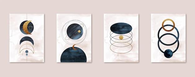 Colección de portadas de arte abstracto acuarela pintada a mano
