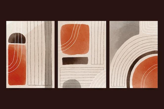 Colección de portadas de arte abstracto en acuarela