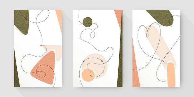 Colección de portadas de arte abstracto dibujado a mano