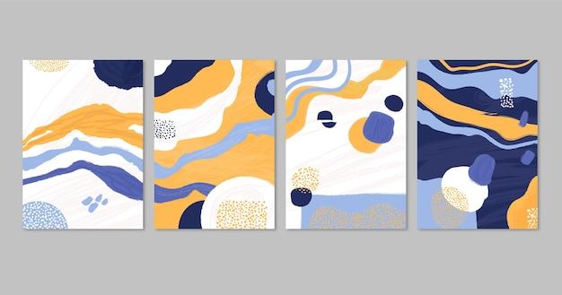 Colección de portadas de arte abstracto pintadas a mano