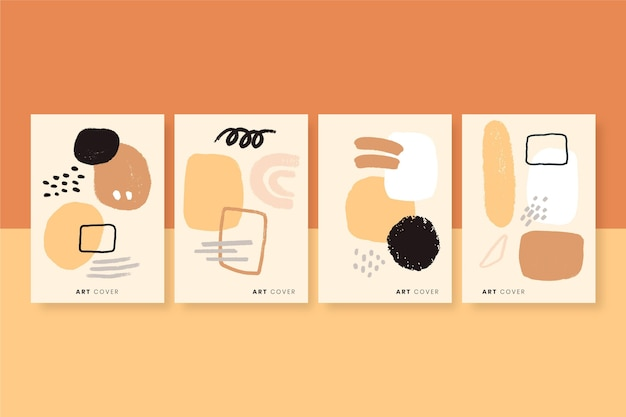 Colección de portadas de arte abstracto pintadas a mano.
