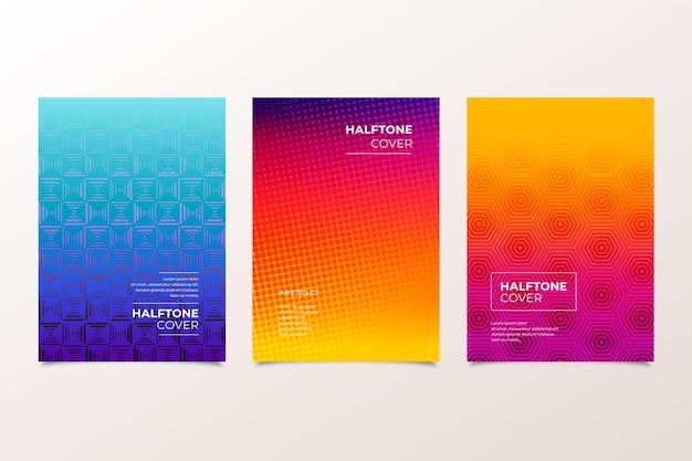 Colección de portadas de colores cálidos y fríos de semitono