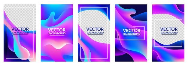 Colección de portadas de colores degradados