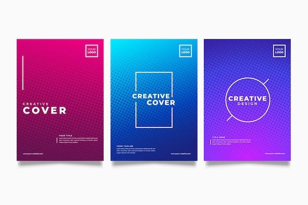 Colección de portadas coloridas de degradado de semitono