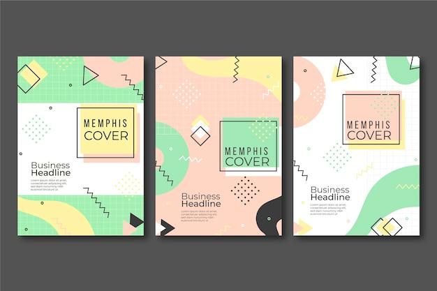 Colección de portadas coloridas de diseño de memphis