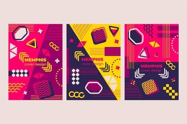 Colección de portadas coloridas de memphis