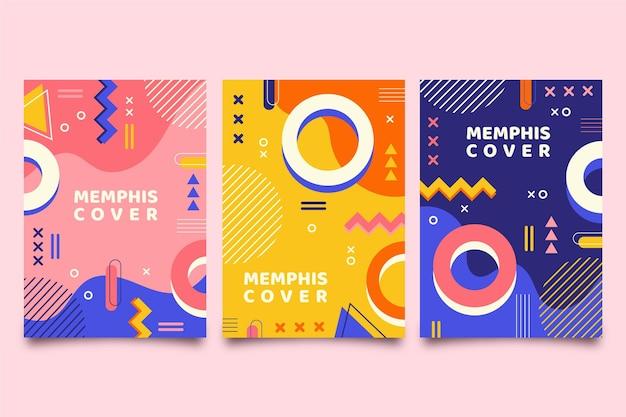 Colección de portadas colorido diseño de memphis