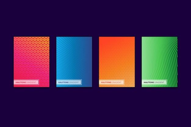 Colección de portadas de degradado colorido de semitono