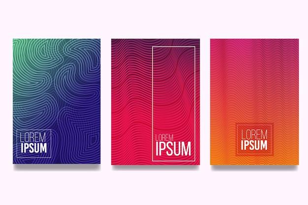 Colección de portadas de degradado de semitono de líneas curvas