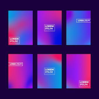 Colección de portadas de degradado de semitono multicolor