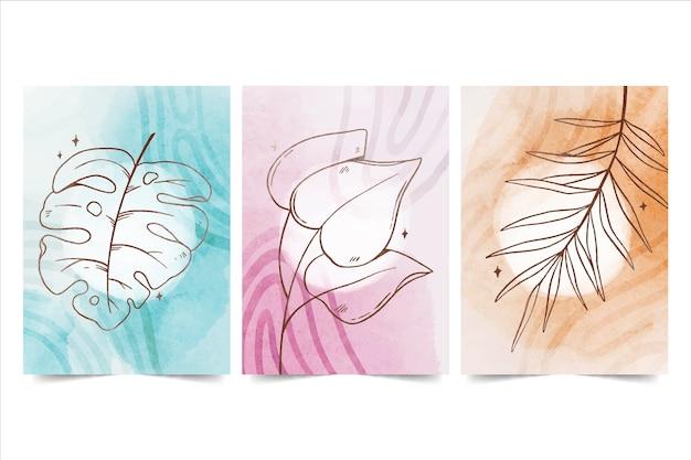Colección de portadas dibujadas a mano minimalistas en acuarela pintadas a mano