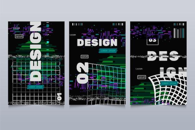 Colección de portadas de diseñador gráfico glitch