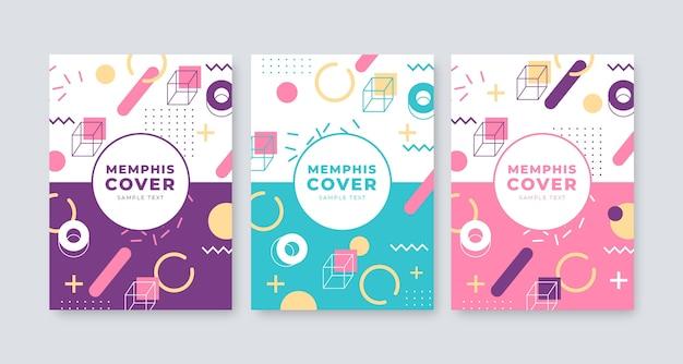 Colección de portadas de diseño abstracto de memphis
