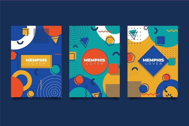 Colección de portadas de diseño colorido de memphis