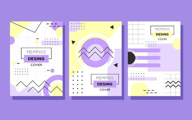 Colección de portadas de diseño de formas geométricas de memphis