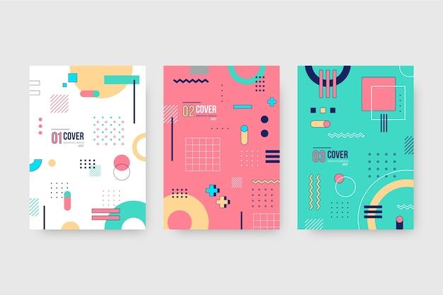 Colección de portadas de diseño geométrico de memphis