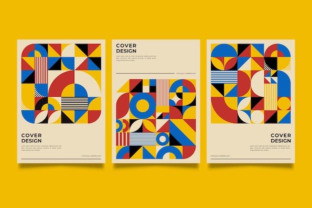 Colección de portadas de diseño gráfico en estilo baugaus