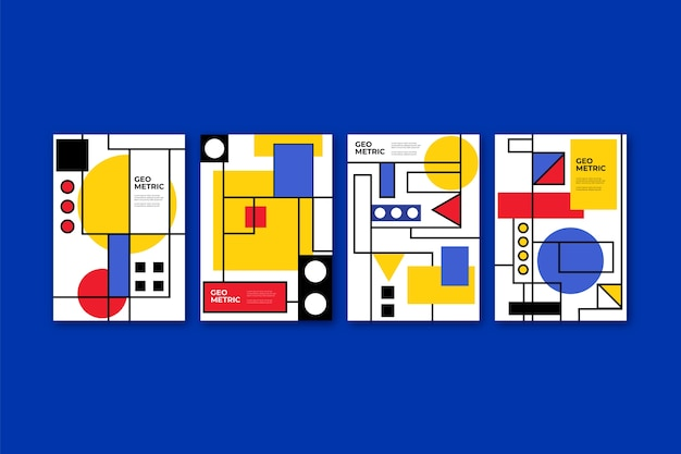 Colección de portadas de diseño gráfico en estilo bauhaus
