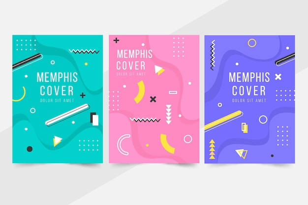 Colección de portadas de diseño de memphis de formas geométricas