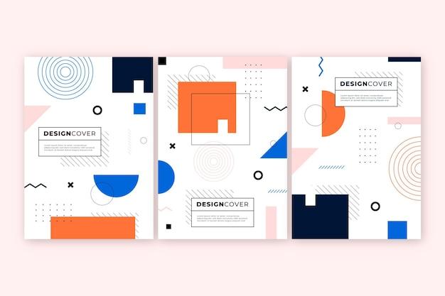 Colección de portadas diseño de memphis
